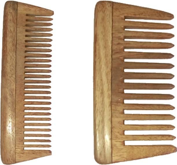 "Ginni Marketing Combo of 2 Neem Wood Combs (baby/small detangler-4"" and baby/small-4"" )"