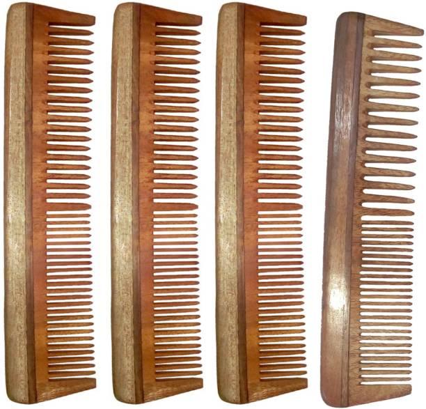 Ginni Marketing Combo of 4 Neem Wood Combs (regular + regular detangler)(7.5 Inches )