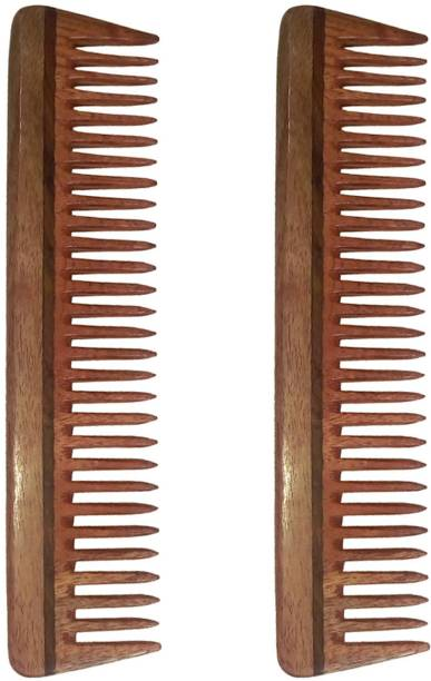 "Ginni Marketing Combo of 2 Neem Wood Combs (Detangler of regular size-7.5"" )"
