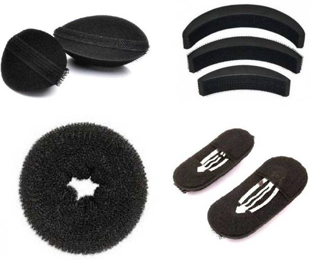 Out Of Box Hair Donut Medium Size And Princess Puff Soft Velcro Insert Black Bumpits (Set of 8) Oob_1131 Extreme Hair Volumizer Bumpits