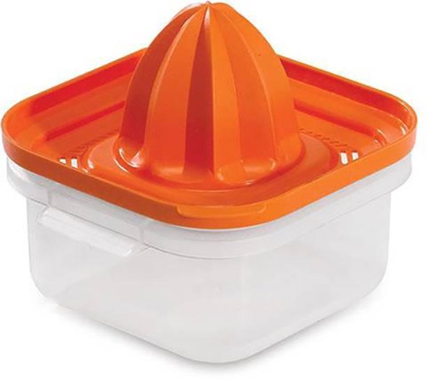 ADMI Plastic Hand Juicer ABS Plastic ORANGE LEMON SQUEEZER Manual with container - Orange