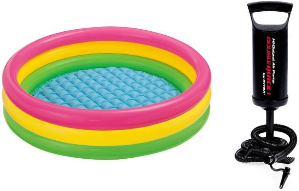INTEX Hand Air Pump With 3ft Round Glow Baby Inflatable Swimming Pool
