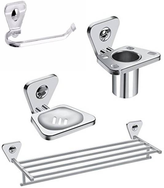 FORTUNE Bathroom Accessories Set ( Combo of 4 Piece ) Chrome Finish Towel Rack / Towel Ring/ Toothbrush Holder / Soap Stand Silver Towel Holder