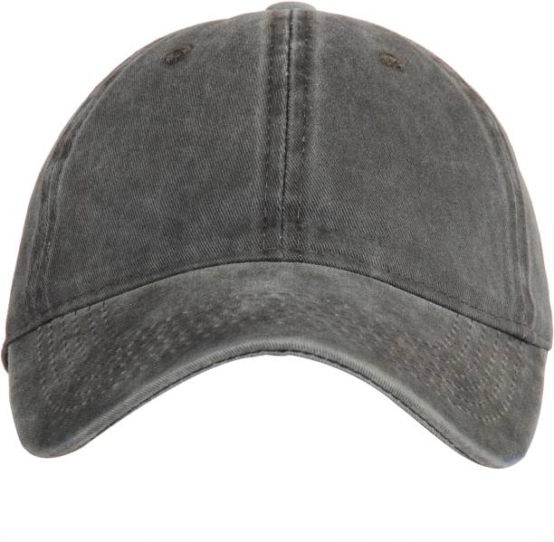 FabSeasons Solid Washed Cotton Denim Unisex Free Size with Adjustable  buckle Baseball Summer Cap Cap de9bda26d18f