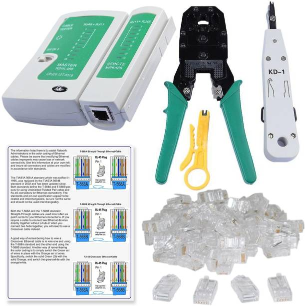 FineArts Rj45 Crimping Tool, KD-1 Professional Punch Down Tool, Network Lan Cable Tester, Ethernet Color Coding & 50 Pcs RJ45 Connectors Combo Set