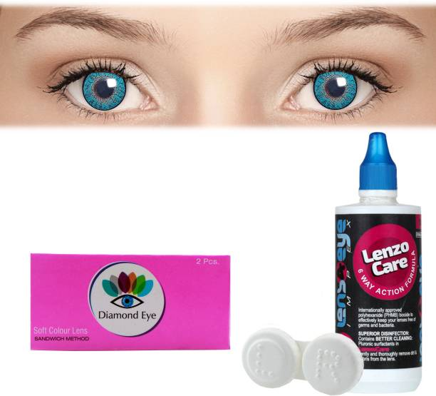 Diamond Eye Turquoise with LensCareKit By Lens4eye Quaterly Contact Lens
