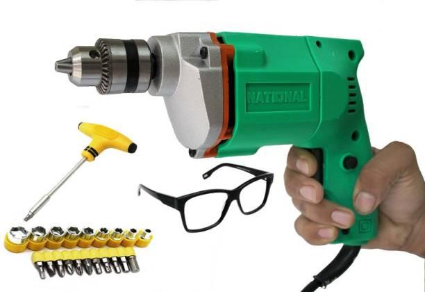 Digital Craft Powerful Electric Drill 10MM Drill Machine +13Pcs Hss Drill Set For Wood,Metal,Plastic & 5Pcs Masonary Drill Set For Wall,Concretes (Green) Pistol Grip Drill