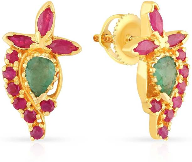 Malabar Gold And Diamonds Yellow 22kt Ruby Emerald Stud Earring