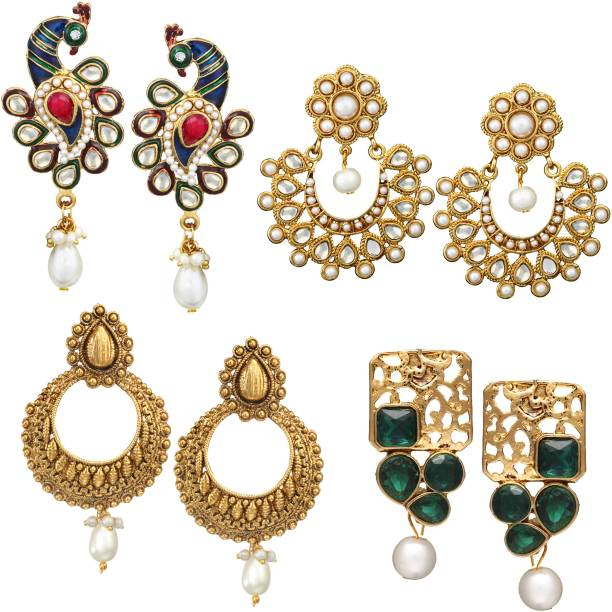 Chandelier earrings buy chandelier earrings online at best prices zaveri pearls combo of 4 pair of earrings zinc dangle earring chandelier earring aloadofball Image collections