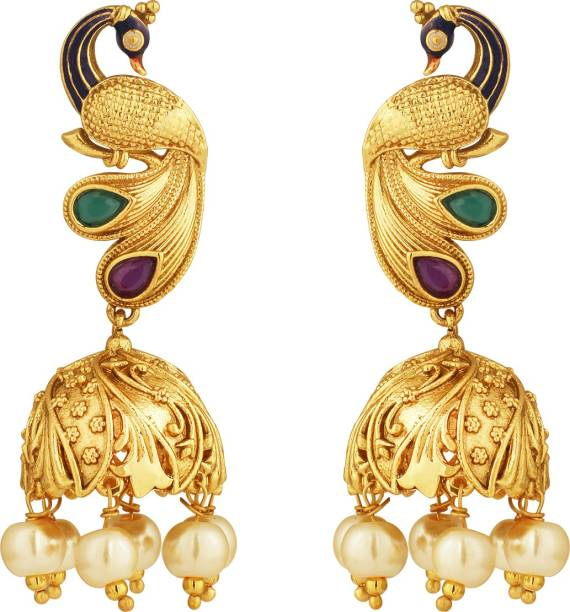 Spargz Wedding Wear Br Gold Plated Glossy Finish Ruby With Pearl Pea Design Jhumka Earrings