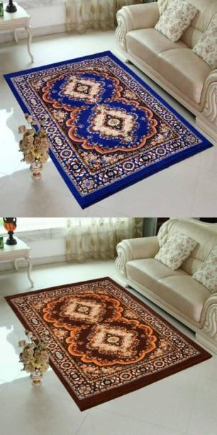 Supreme Home Collective Blue, Brown Velvet Carpet