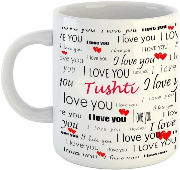 EMERALD Love You White Ceramic I Love You Tushti Ceramic Coffee Mug