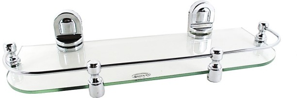 RoyaL Indian Craft Chrome Brackets 20 By 5 Inch New Look Glass Wall Shelf