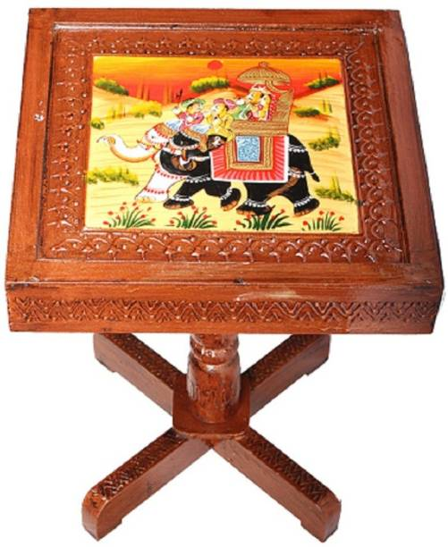 Apkamart Handicraft Wooden End Table cum Stool - For Room Decoration and Gifts Bamboo Side Table