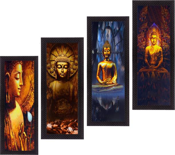 eCraftIndia Set Of 4 Lord Buddha Canvas 16 inch x 28 inch Painting