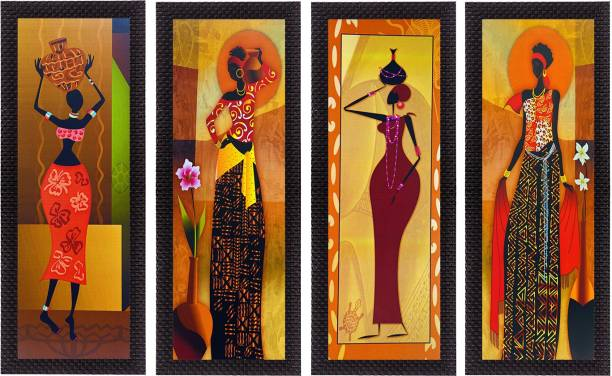 eCraftIndia Set Of 4 Tribal Women Canvas 16 inch x 28 inch Painting