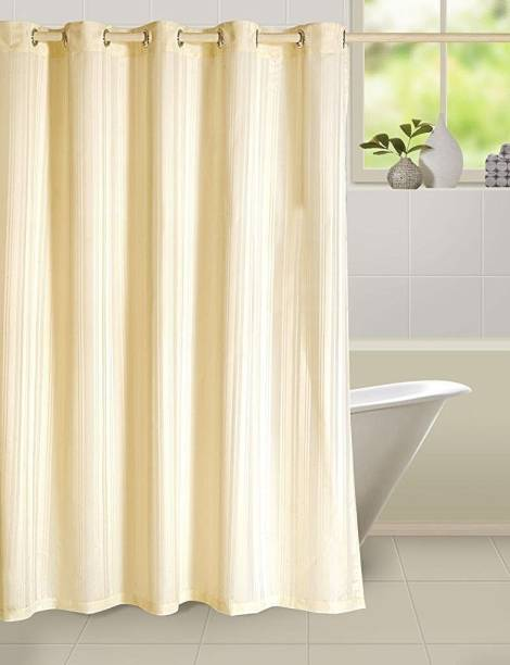 Yellow Weaves 213 Cm 7 Ft PVC Shower Curtain Single