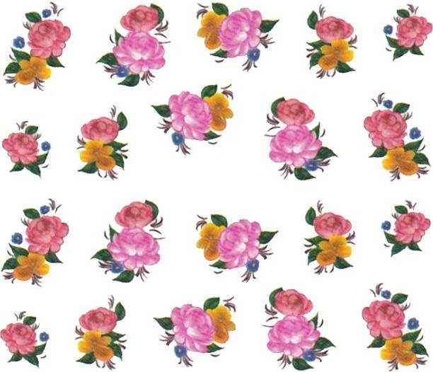SENECIO™ Rose Bunch Multicolor Style - 21 Nail Art Manicure Decals Water Transfer Stickers Sheet