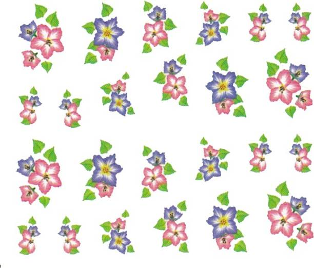 SENECIO™ Rose Bunch Multicolor Style - 4 Nail Art Manicure Decals Water Transfer Stickers Sheet