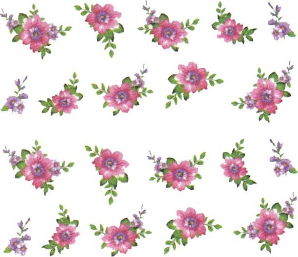 SENECIO™ Rose Bunch Multicolor Style - 5 Nail Art Manicure Decals Water Transfer Stickers Sheet