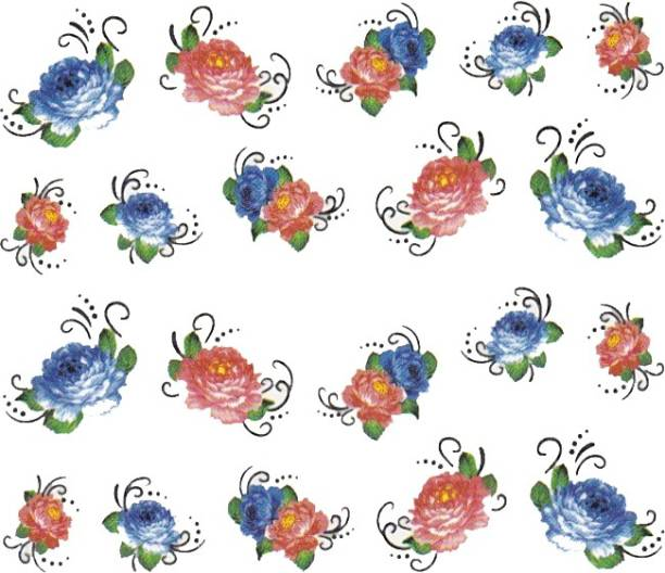 SENECIO™ Rose Bunch Multicolor Style - 3 Nail Art Manicure Decals Water Transfer Stickers Sheet