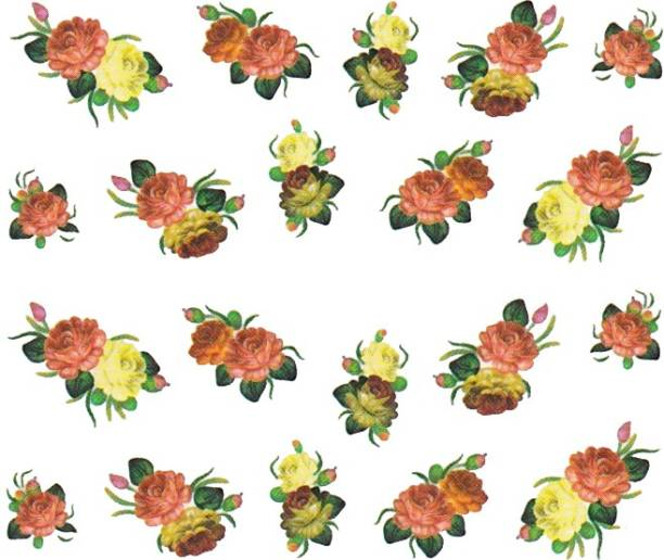 SENECIO™ Rose Bunch Multicolor Style - 17 Nail Art Manicure Decals Water Transfer Stickers Sheet
