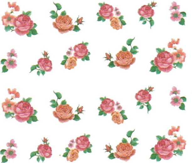 SENECIO™ Rose Bunch Multicolor Style - 24 Nail Art Manicure Decals Water Transfer Stickers Sheet