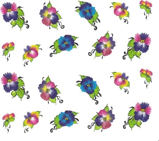 SENECIO™ Rose Bunch Multicolor Style - 9 Nail Art Manicure Decals Water Transfer Stickers Sheet