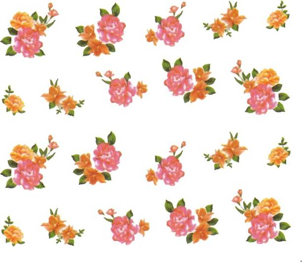 SENECIO™ Rose Bunch Multicolor Style - 8 Nail Art Manicure Decals Water Transfer Stickers Sheet