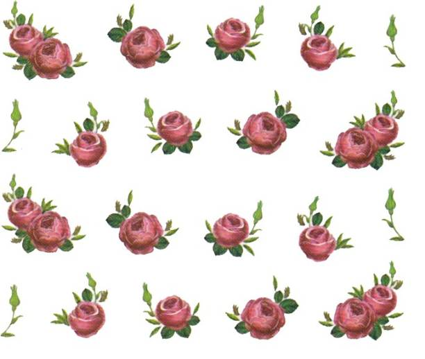 SENECIO™ Rose Bunch Multicolor Style - 14 Nail Art Manicure Decals Water Transfer Stickers Sheet