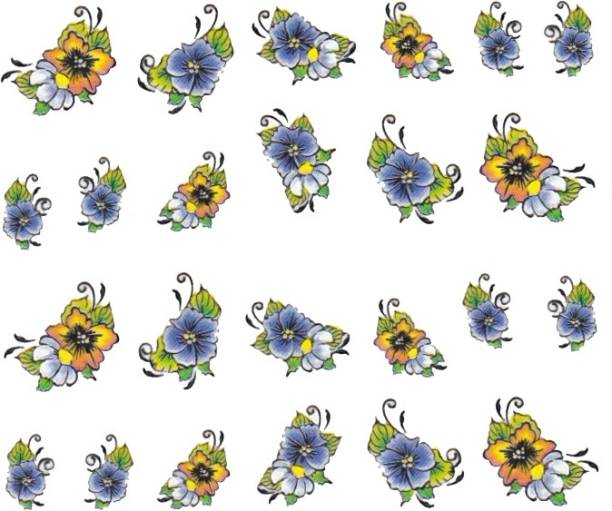 SENECIO™ Rose Bunch Multicolor Style - 20 Nail Art Manicure Decals Water Transfer Stickers Sheet