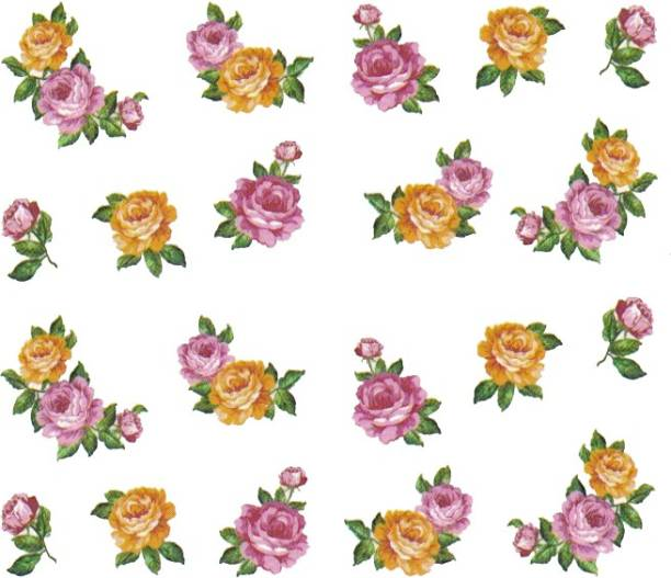 SENECIO™ Rose Bunch Multicolor Style - 23 Nail Art Manicure Decals Water Transfer Stickers Sheet
