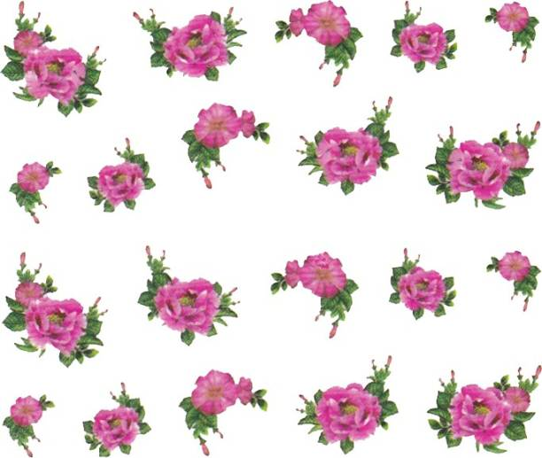 SENECIO™ Rose Bunch Multicolor Style - 1 Nail Art Manicure Decals Water Transfer Stickers Sheet