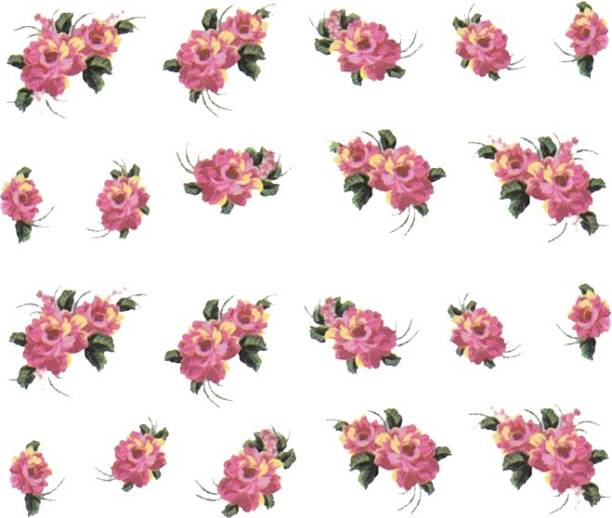 SENECIO™ Rose Bunch Butterfly Multicolor Style - 1 Nail Art Manicure Decals Water Transfer Stickers Sheet