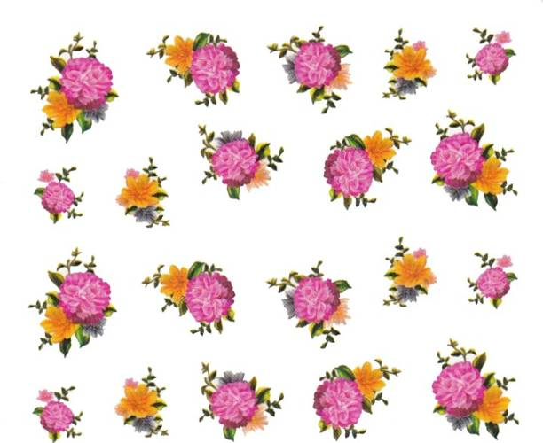 SENECIO™ Rose Bunch Multicolor Style - 12 Nail Art Manicure Decals Water Transfer Stickers Sheet
