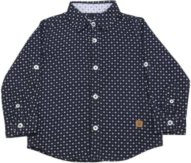United Colors of Benetton. Boys Printed Casual Dark Blue Shirt