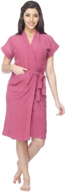 FeelBlue Magenta Free Size Bath Robe