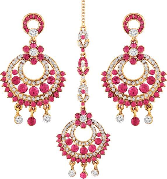 d53d36a5af5 I Jewels Gold Plated Traditional Chandbali Earrings Alloy Chandbali Earring