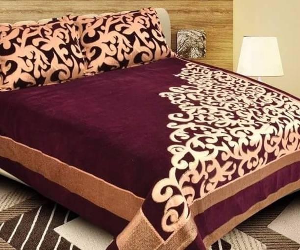 innovative edge 250 TC Velvet Double King Embroidered Bedsheet