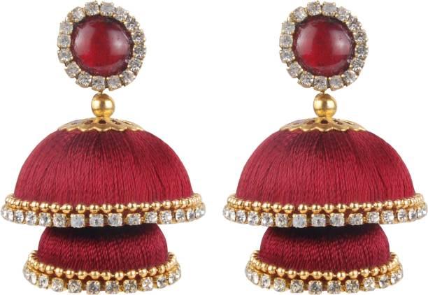ceaa1bb1a Krishnaa Twinkling Double Decker Jhumkas Beads Silk Dori Jhumki Earring