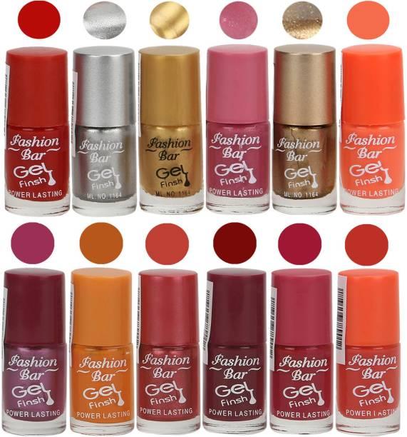 Fashion Bar Power Lasting Nail Polish (Pack of 12) Multicolour