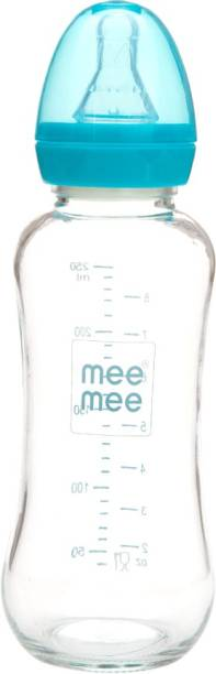 MeeMee Premium Glass Feeding Bottle_Blue - 240 ml