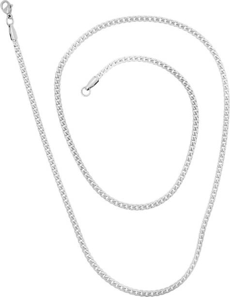 6bded5a9a Saizen Rhodium Plated CH184 Chain For Men And Boys Rhodium Plated Stainless  Steel Chain