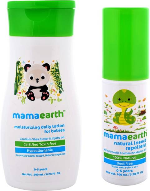 MamaEarth Pack of 2, Daily Mousturizing Lotion for Babies-200ml with Natural Mosquito Repellent for Babies-100ml Age Group (0-5 Yrs)