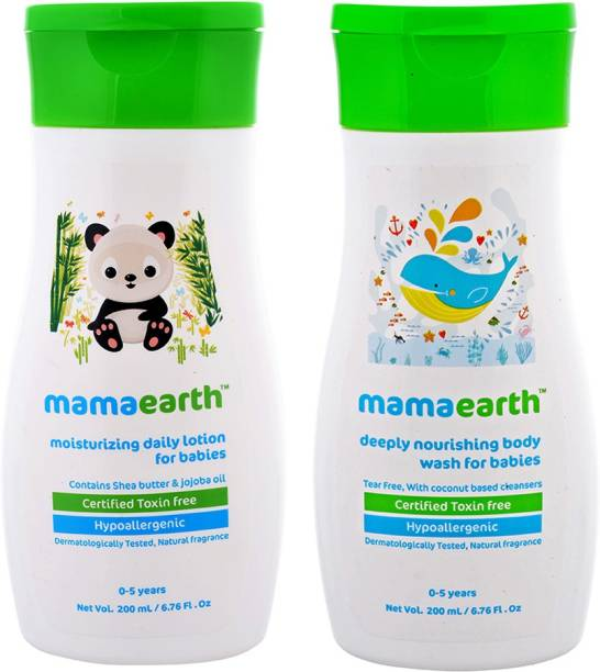 MamaEarth Pack of 2, Daily Moisturizing Lotion for Babies-200ml & Mamaearth Deeply Nourishing Baby Wash-200 ml Age Group (0-5 Yrs)