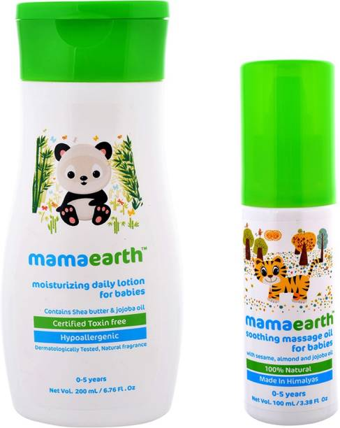MamaEarth Pack of 2, Soothing Baby Massage -100ml & Daily Moisturizing Lotion for Babies-200ml Age Group (0-5 Yrs)