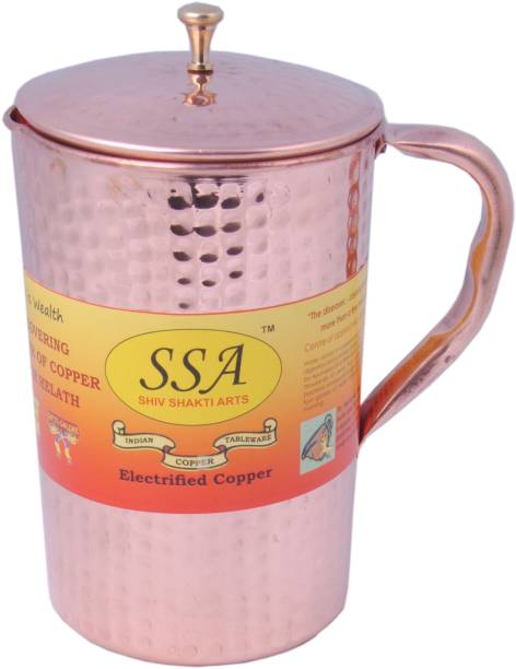 Shivshakti Arts 2 L Water Handmade Pure Hammered Design Pitcher No 6 With Brass Top Lid Jug
