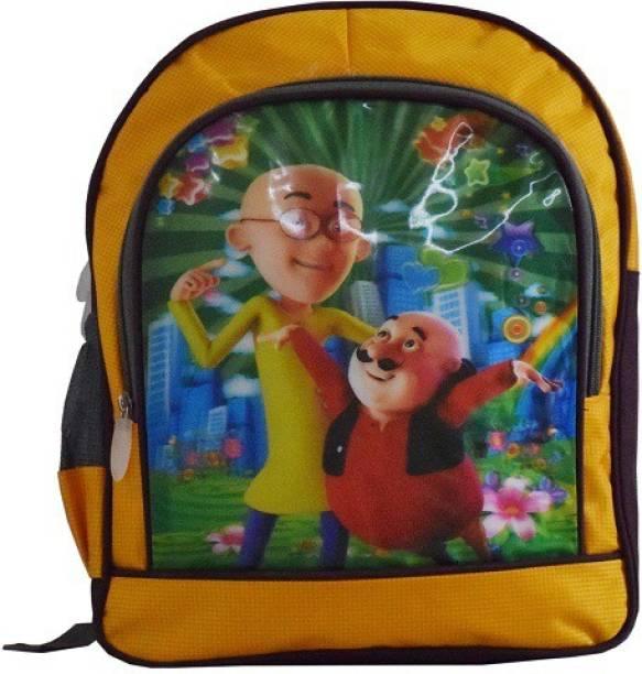 SEEDLING Motu Patlu Yellow Waterproof School Bag b8f09854d0576