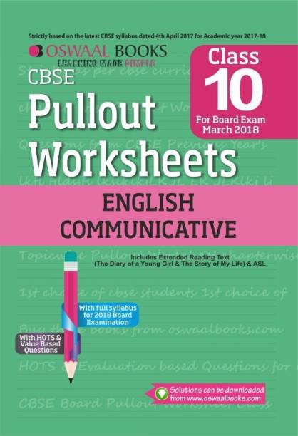 Oswaal CBSE Pullout Worksheet Class 10 English Comm.(Mar. 2018 Exam)