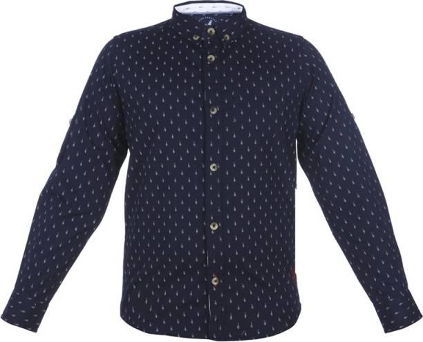 Urban Scottish Boys Printed Casual Blue Shirt